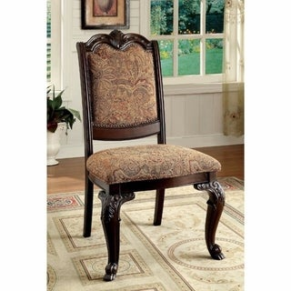Bellagio Traditional Fabric Side Chair, Brown Cherry, Set Of Two