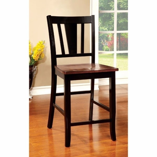 Dover II Transitional Counter Height Chair With wooden Seat, Set of 2
