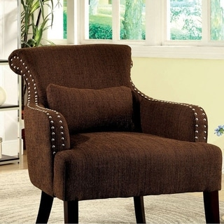 Agalva Contemporary Accent Chair Fabric, Brown Finish