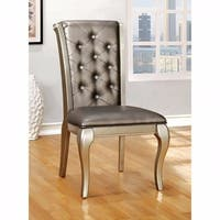 Amina Contemporary Side Chair Silver Finish, Set of 2