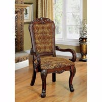Medieve Traditional Arm Chair, Cherry Finish, Set Of 2