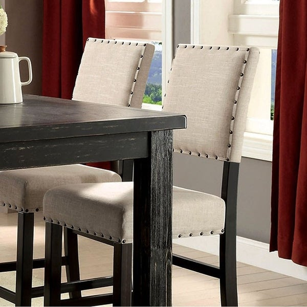 Shop Sania Ii Rustic Counter Height Chair Black Finish Set Of 2 Free Shipping
