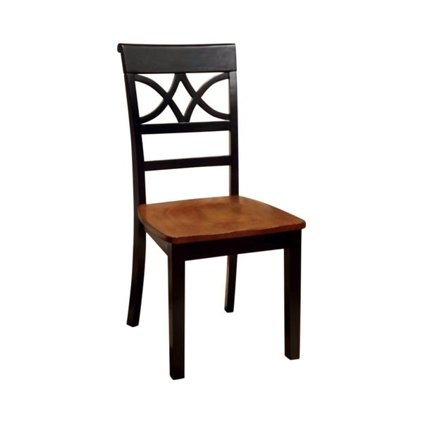 Torrington Cottage Side Chair With Wooden Seat, Black & Oak , Set of 2