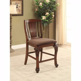 Johannesburg Traditional Counter Height Chair, Brown Cherry, Set Of 2