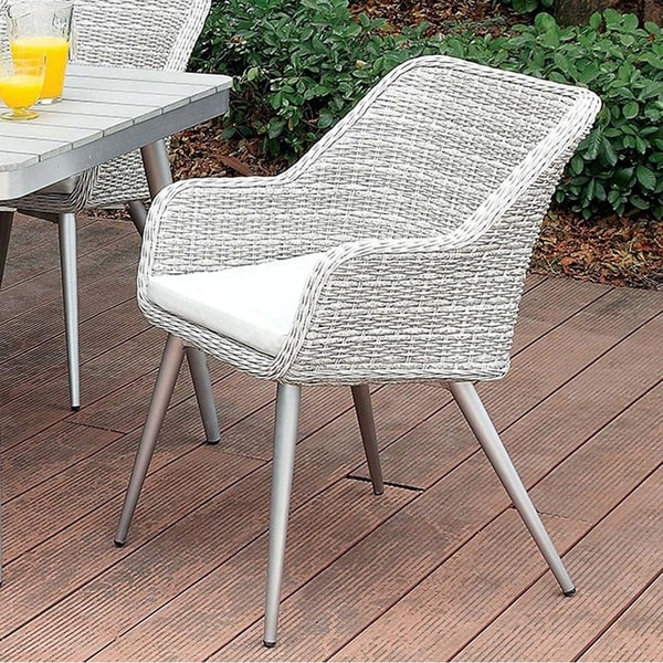 Shivani Contemporary Arm Chair, Silver and Gray, Set of 4