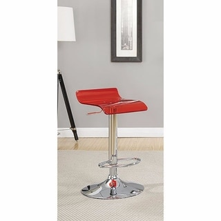 Trixy Contemporary Bar Chair In Red Color With Acrylic Seat, Set of 2