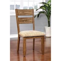 Ava Transitional Side Chair With Fabric, Light Oak Finish, Set of 2