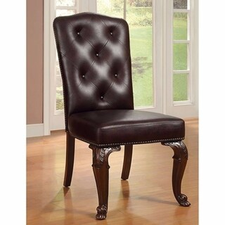Bellagio Side Chair With Leather Upholstery, Brown Cherry, Set Of 2