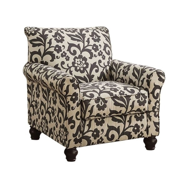 Clea Transitional Accent Chair, Black & White