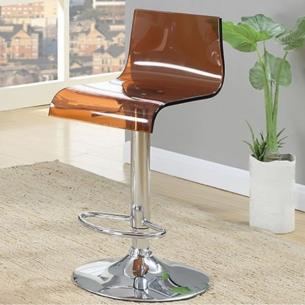 Trixy Contemporary Bar Chair In Brown Color Acrylic Seat, Set of 2