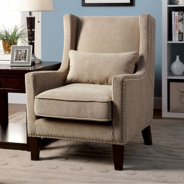 Wonderful Tomar Transitional Accent Chair, Ivory Color