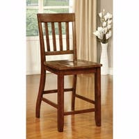 Foster II Transitional Counter Height Chair, Dark Oak Finish, Set of 2