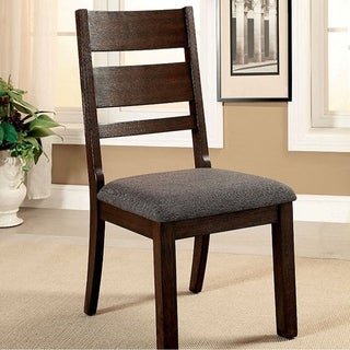 Isadora Cottage Side Chair With Fabric, Dark Espresso Finish, Set of 2