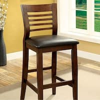 Dwight II Transitional Bar Chair, Cherry Brown Finish, Set of 2