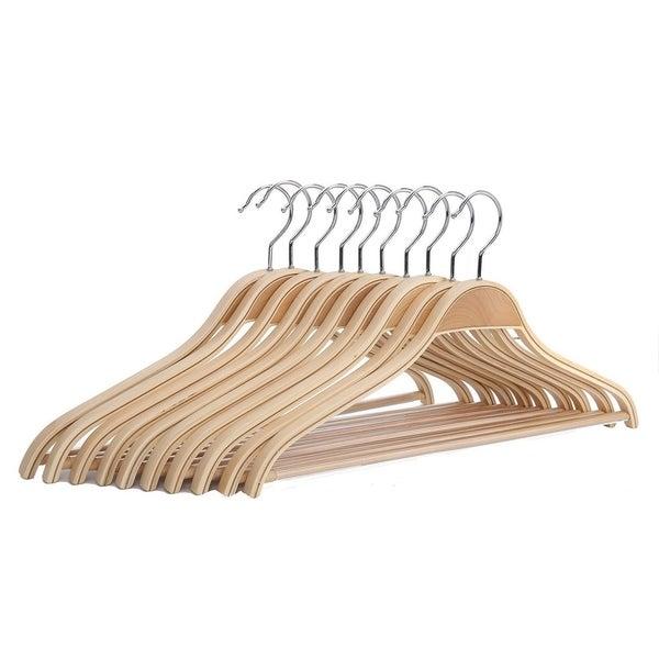 J.S. Hanger Solid Natural Wooden Coat Shirt Hangers with Non-slip Pant Bar, 10-Pack