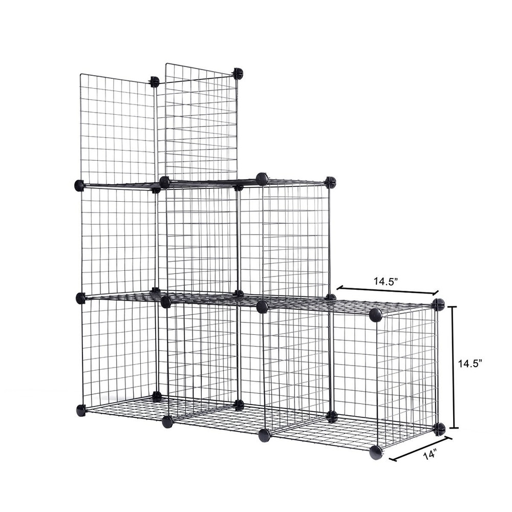 J.S. Hanger Black Wire Storage Cubes, Set of 6, Clothes Organizer ...
