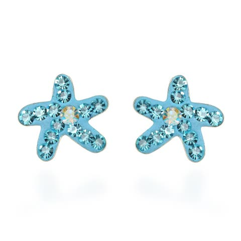 Handmade Cute Blue Crystal Starfish .925 Silver Stud Earrings (Thailand)