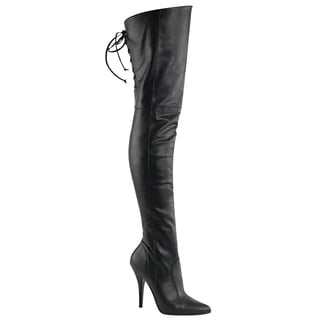 Pleaser LEGEND-8890 Women's Stiletto Heel Pull-On Buckle Lacing Thigh High Boots