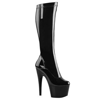 Pleaser ADORE-2000 Women' Platform Side Zip Stiletto Heel Stretch Knee High Boot