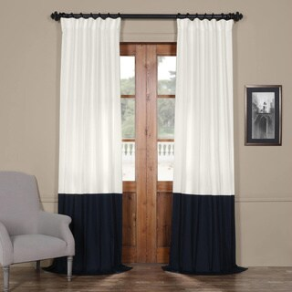 "Exclusive Fabrics Horizontal Colorblock Panama Curtain Panel 84"" L in Fresh Popcorn and Millstone Grey (As Is Item)"