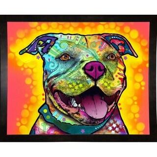 """Dewey Pit Bull Framed Print 16""""x20"""" by Dean Russo"""