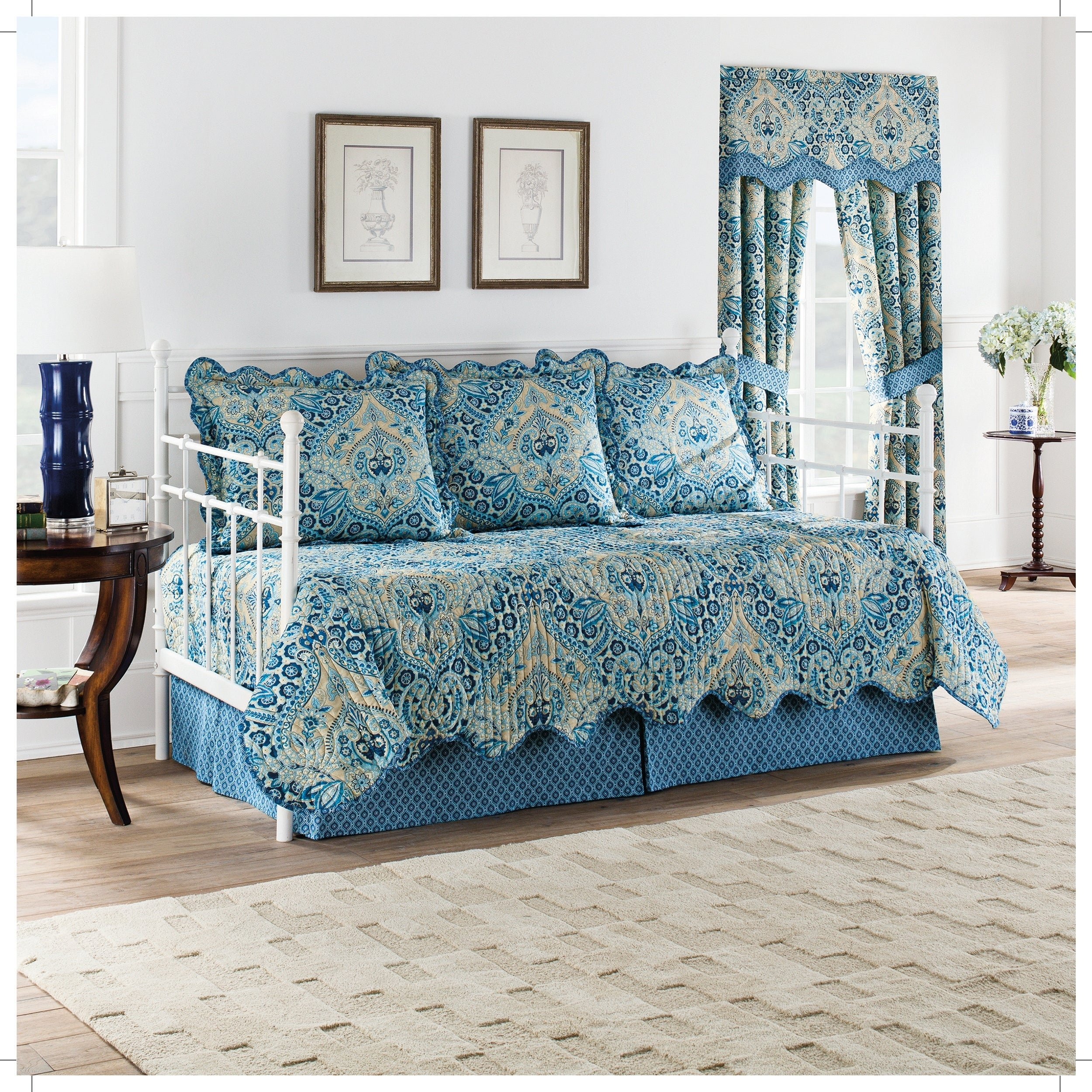 Waverly Moonlit Shadows Reversible 5 Piece Quilt Daybed C...