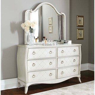 Hillsdale Angela 6 Drawer Dresser with Wood Arc Mirror, Opal Grey