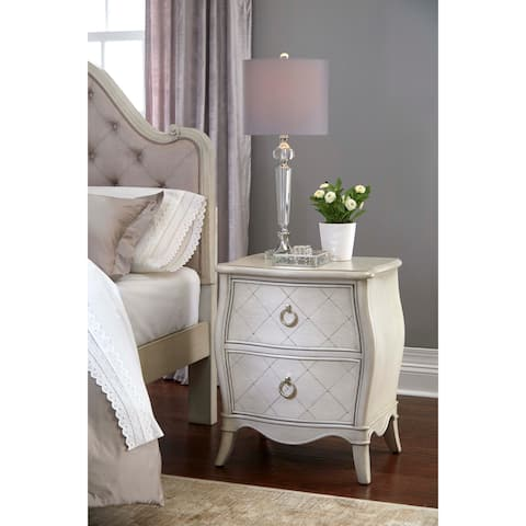 Hillsdale Angela Nightstand with 2 Drawers, Opal Grey