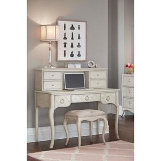 Hillsdale Angela Desk with Hutch and Bench, Grey