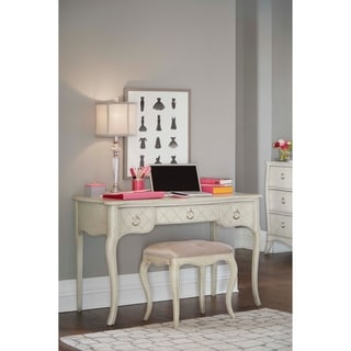 Hillsdale Angela Desk with Bench, Opal Grey