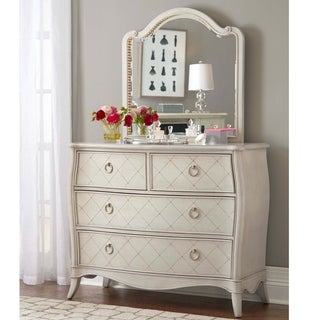 Hillsdale Angela 4 Drawer Chest with Wood Arc Mirror, Opal Grey