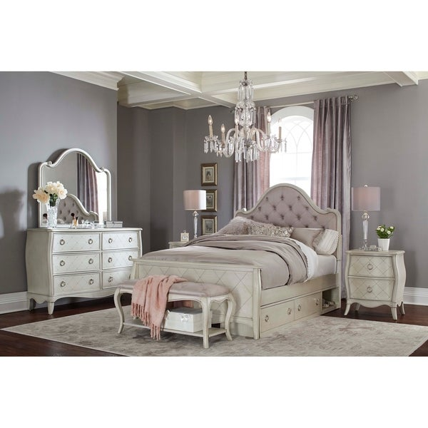 Hillsdlae Angela Full Arc Upholstered Bed with Storage Unit, Opal Grey