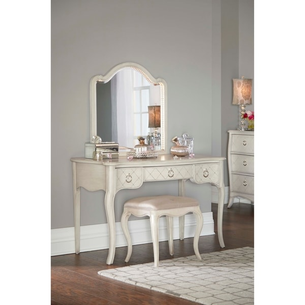 Hillsdale Angela Desk with Arc Lighted Vanity Mirror and Bench, Opal ...