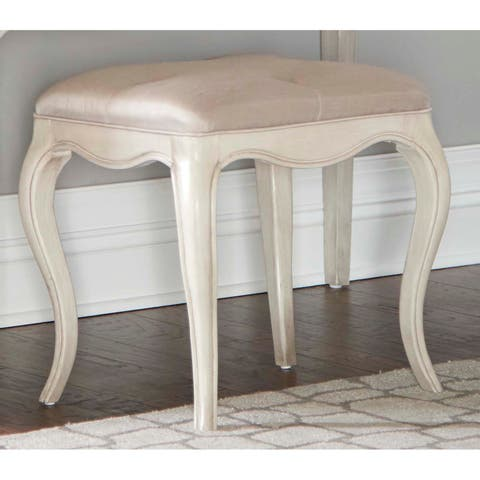 Hillsdale Angela Desk Bench with Tufted Top, Opal Grey