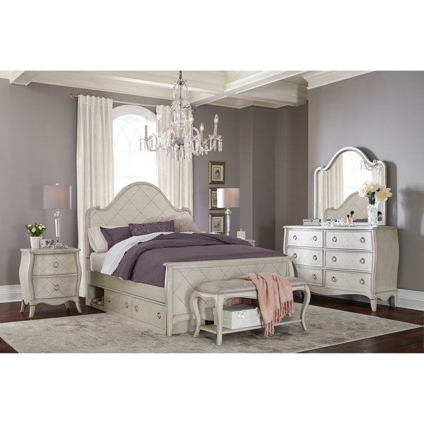 Hillsdale Angela Full Arc Panel Bed with Storage Unit, Opal Grey