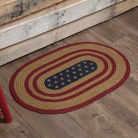 "Liberty Stars Flag Oval Jute Rug - 1'8"" x 2'6"""