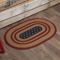 "Red Americana Flooring VHC Liberty Stars Flag Rug Jute Star Stenciled Oval - 1'8"" x 2'6"""