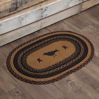 "Yellow Primitive Flooring VHC Heritage Farms Crow Rug Jute Nature Print Stenciled Oval - 1'8"" x 2'6"""