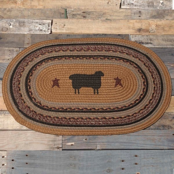 "Yellow Primitive Flooring VHC Heritage Farms Sheep Rug Jute Nature Print Stenciled Oval - 1'8"" x 2'6"""