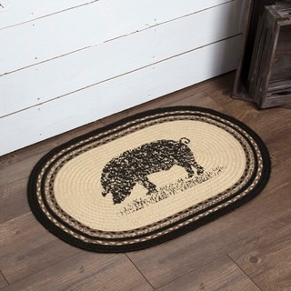 "White Farmhouse Flooring VHC Sawyer Mill Pig Rug Jute Nature Print Stenciled Oval - 1'8"" x 2'6"""