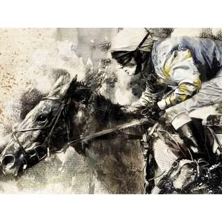 """Jockey and Horse"" by John Fielder, Canvas Giclee Wall Art"