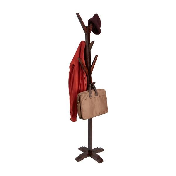 Mind Reader Free Standing 8 Hook Wooden Coat and Hat Rack, Brown