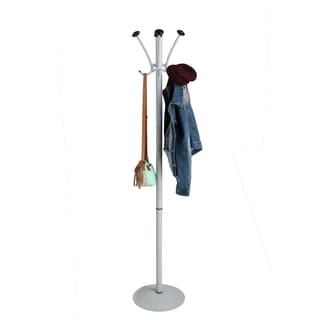 Mind Reader Free Standing 8 Hook Aluminum Coat and Hat Rack, Silver