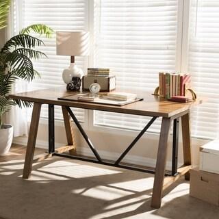 Rustic Industrial Metal and Wood Adjustable Desk by Baxton Studio