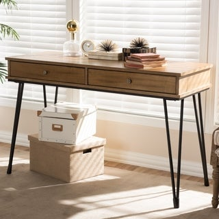 Rustic Industrial Metal and Wood 2-Drawer Desk by Baxton Studio