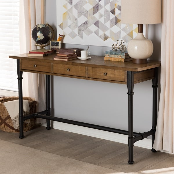 Rustic Industrial Metal and Wood 3-Drawer Desk by Baxton Studio