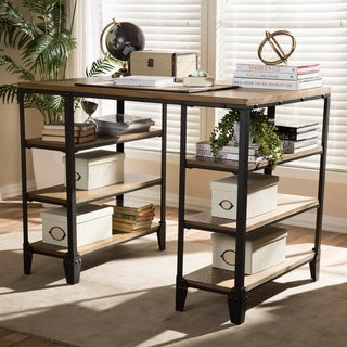 Rustic Industrial Metal and Distressed Wood Desk by Baxton Studio