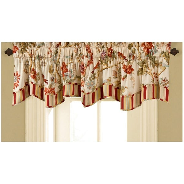 Dis Le Bois From Italy Country Life Window Valance Lined and Corded Rod Pocket Scallop Valance Designer Fabric European Country