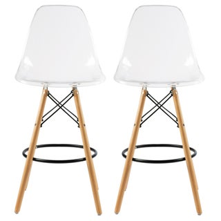 Mid-Century Modern Retro 26 In. Counter Stool, Set of 2 (Option: Clear)
