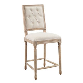 Byron Linen Tufted Square Back Counter Stool